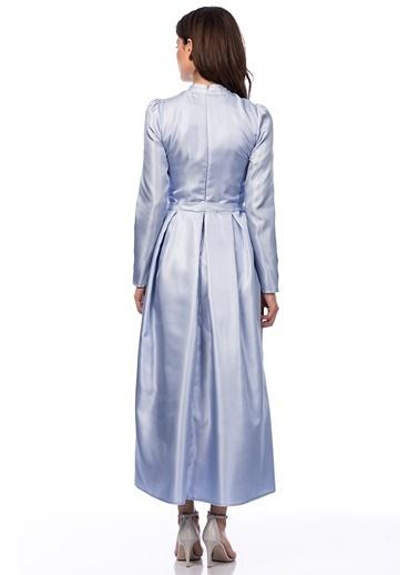 İnci İşlemeli Uzun Elbise-İroni